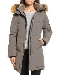Vince Camuto - Gray Down & Feather Fill Parka With Faux Fur Trims - Lyst