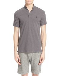 The Kooples | Gray Sport Pipe-trimmed Band Collar Pique Polo for Men | Lyst