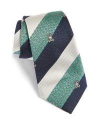 Psycho Bunny - Green Wide Stripe Silk Tie for Men - Lyst
