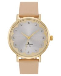 kate spade new york | Metallic 'metro' Scallop Dial Leather Strap Watch | Lyst