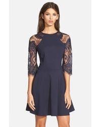 BB Dakota | Blue 'yale' Lace Panel Fit & Flare Dress | Lyst