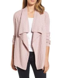 Chaus - Pink Mixed Cotton Knit Cardigan - Lyst