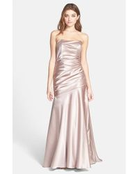 Dessy Collection | Pink Ruched Satin Gown | Lyst