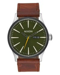 Nixon - Green 'the Sentry' Leather Strap Watch for Men - Lyst