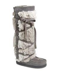 Manitobah Mukluks | Multicolor Genuine Rabbit Fur Tall Wrap Boot | Lyst
