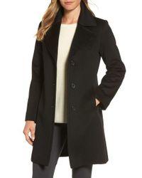 Fleurette - Black Notch Collar Wool Walking Coat - Lyst