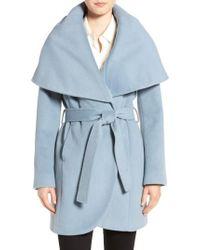 Tahari | Blue Wool-Blend Belted Wrap Coat | Lyst