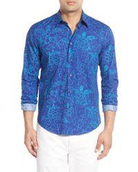 Vilebrequin - Blue Regular Fit Turtle Print Sport Shirt for Men - Lyst