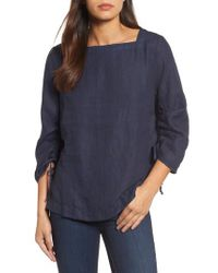Caslon - Blue Caslon Ruched Sleeve Linen Pullover - Lyst