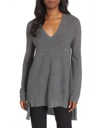Eileen Fisher   Gray High/low Merino Wool Sweater   Lyst