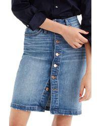 J.Crew - Blue J.crew Front Button Denim Pencil Skirt - Lyst