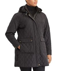 Lauren by Ralph Lauren | Black Diamond Quilted Jacket With Faux Leather Trim | Lyst