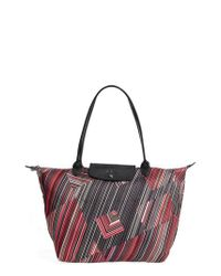 Longchamp - Red Large Op Art Shoulder Tote - Lyst