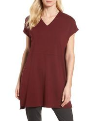 Eileen Fisher | Red Jersey Tunic | Lyst