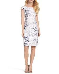 Chetta B | White Lace Sheath Dress | Lyst