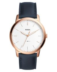 Fossil - Metallic Minimalist Leather Strap Watch for Men - Lyst