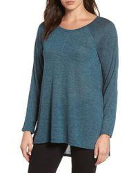 Caslon | Blue Caslon High/low Tunic Sweatshirt | Lyst