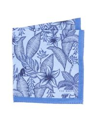 Ted Baker - Blue Monkey Botanical Silk Pocket Square for Men - Lyst