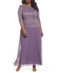 Alex Evenings - Purple Mock Two-piece Long Dress - Lyst