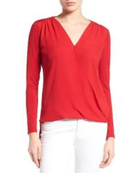 Vince Camuto | Red Georgette & Jersey Faux Wrap Blouse | Lyst