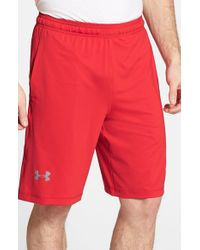 Under Armour | Red 'raid' Heatgear Loose-fit Athletic Shorts for Men | Lyst