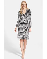 Diane von Furstenberg - Black 'new Jeanne Two' Print Silk Wrap Dress - Lyst