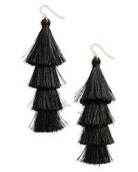 TOPSHOP   Black Layered Tassel Drop Earrings   Lyst