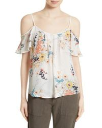 Joie | Multicolor Adorlee Print Silk Cold Shoulder Top | Lyst
