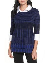 Ming Wang - Blue Layered Look Tunic Sweater - Lyst