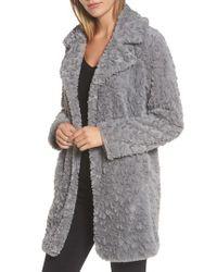 Kenneth Cole - Gray Faux Fur Coat - Lyst