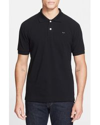 Comme des Garçons | Black Play Pique Polo With Small Heart Applique for Men | Lyst