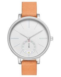 Skagen | Natural 'hagen' Leather Strap Watch | Lyst