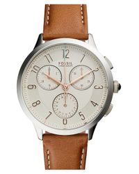 Fossil | Brown 'abilene' Chronograph Leather Strap Watch for Men | Lyst