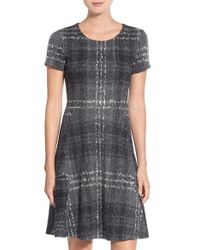 Betsey Johnson - Gray Print Ponte Fit & Flare Dress - Lyst