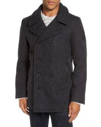 Schott Nyc - Multicolor Embroidered Wool Blend Peacoat for Men - Lyst