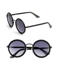 Oxydo | Gray 50mm Round Metal Accent Sunglasses | Lyst