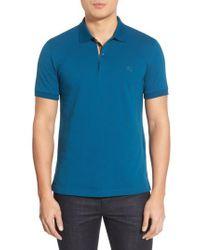 Burberry - Blue Pique Polo for Men - Lyst