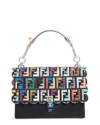 Fendi - Blue Kan I Stamped Zucca Logo Leather Top Handle Bag - Lyst