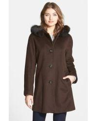 Ellen Tracy | Brown Kimono Sleeve Jacket With Genuine Fox Fur Trim (petite) | Lyst