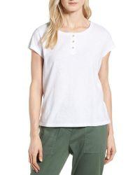 Eileen Fisher - White Henley Organic Cotton Tee - Lyst