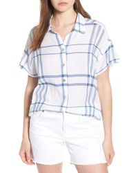 Liverpool Jeans Company - Blue Crinkle Cotton Short Sleeve Blouse - Lyst