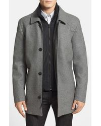 Vince Camuto | Gray Melton Car Coat With Removable Bib for Men | Lyst