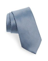 Ermenegildo Zegna - Blue Geometric Silk Tie for Men - Lyst