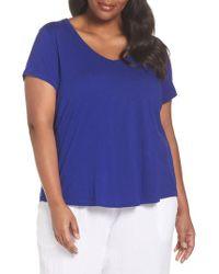 Eileen Fisher - Blue V-neck Organic Cotton Tee - Lyst