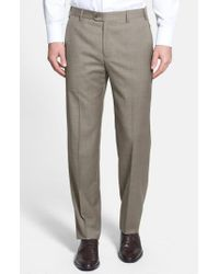 Zanella | Natural 'devon' Flat Front Wool Trousers for Men | Lyst
