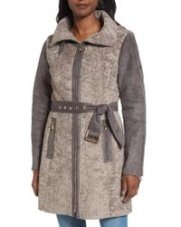 Vince Camuto | Brown Faux Shearling Coat | Lyst