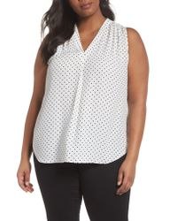 Vince Camuto - White Poetic Dots Sleeveless V-neck Blouse - Lyst