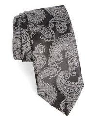 BOSS - Gray Paisley Silk Tie for Men - Lyst