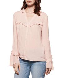 PAIGE Pink Montel Ruffle V-neck Top
