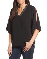 Chaus - Black Embellished Slit Shoulder Crepe Top - Lyst